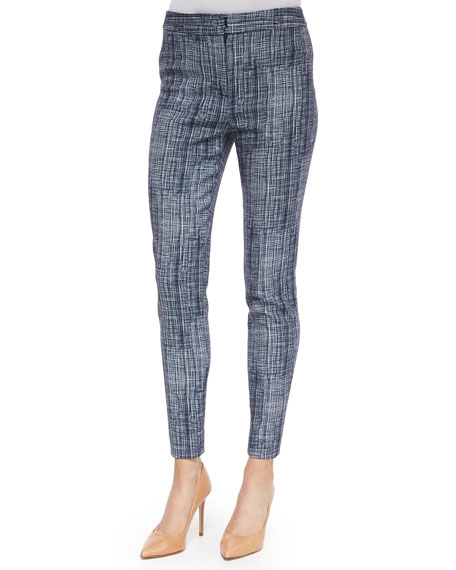 Lela Rose Crosshatch-Print Straight-Leg Pants, Blue Multi