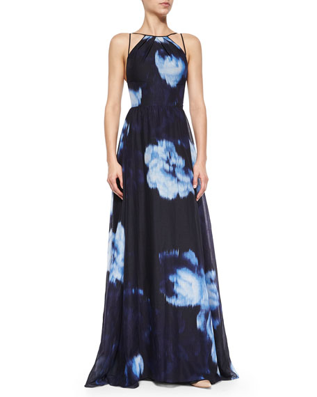 Floral Ikat-Print Strappy Gown
