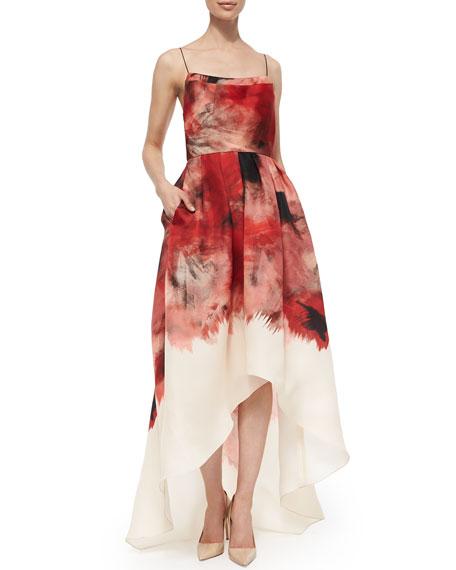 Lela Rose Sleeveless Floral Print High Low Dress Red