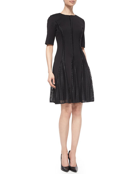 Lela Rose Elbow-Sleeve Chevron-Lace Insert Dress, Black