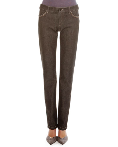 Melange Denim Straight-Leg Jeans