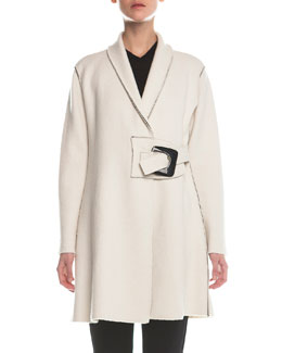 Wrap Buckled Wool Coat, Ivory