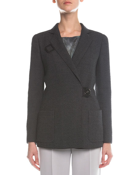 Giorgio Armani Check-Textured Button-Toggle Coat