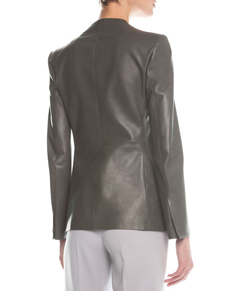 Faux-Lapel Plonge Leather Blazer, Gray