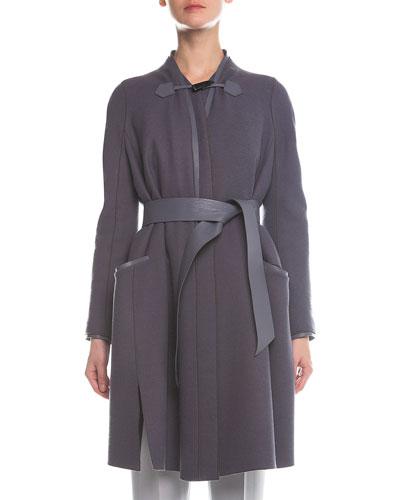 Leather-Detailed Toggle Swing Coat