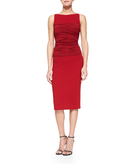 Donna Karan Sleeveless Ruched-Bodice Shift Dress, Dark Cherry