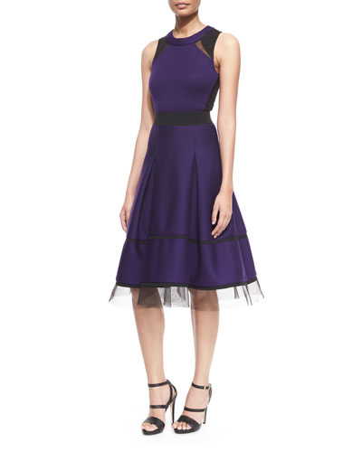 Mesh-Inset Belted Fit-And-Flare Combo Dress