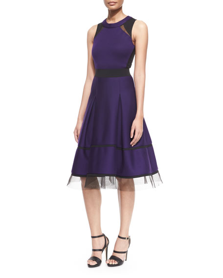 Donna Karan Mesh-Inset Belted Fit-And-Flare Combo Dress