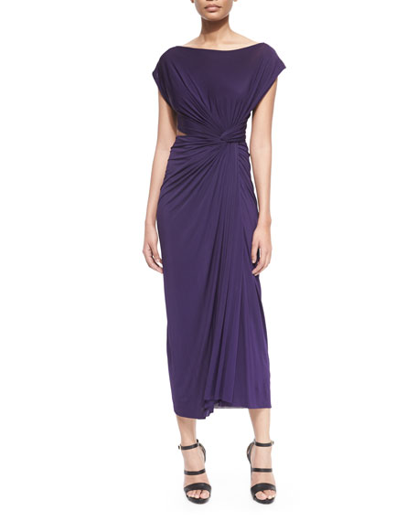 Donna Karan Cap-Sleeve Open-Cross-Back Dress, Dark Purple