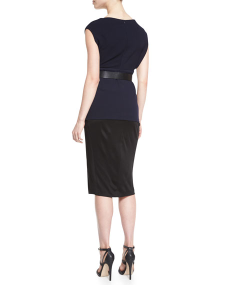 Cap-Sleeve Colorblock Belted Tunic Dress
