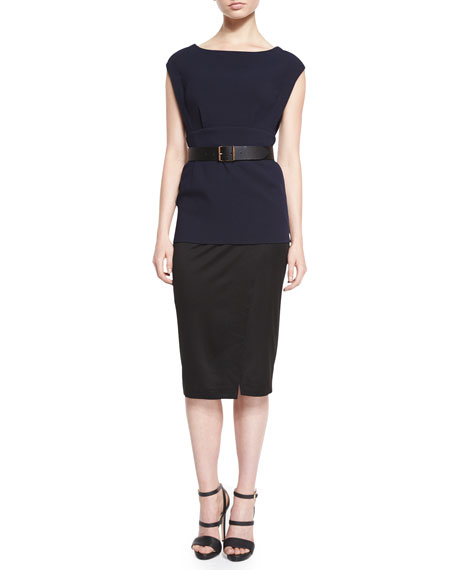Donna Karan Cap-Sleeve Colorblock Belted Tunic Dress