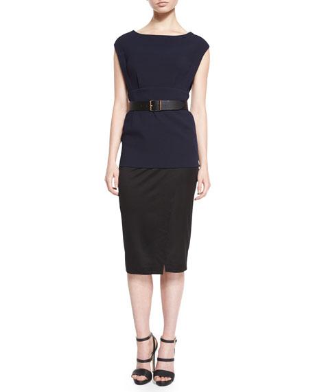 Donna Karan Cap-Sleeve Colorblock Belted Tunic Dress