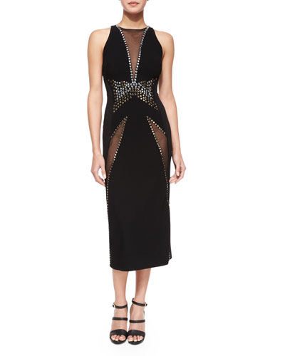 Donna Karan V-Neck Mesh-Insert Sheath Dress, Black