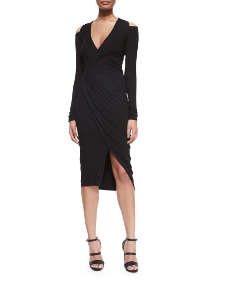 Donna Karan Cold-Shoulder Draped V-Neck Dress