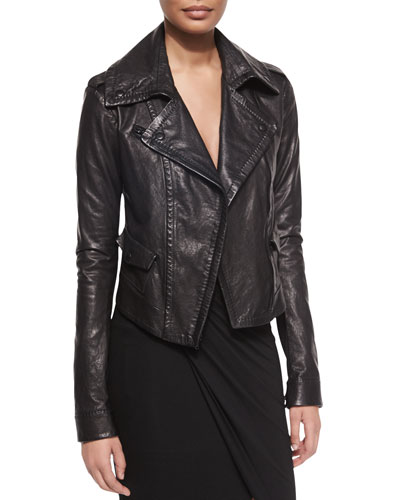Asymmetric Leather Moto Jacket