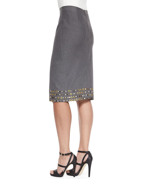 High-Waist Embellished Pencil Skirt, Flannel