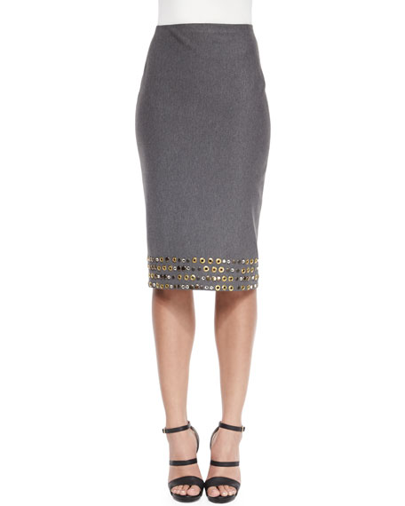 Donna Karan High-Waist Embellished Pencil Skirt, Flannel