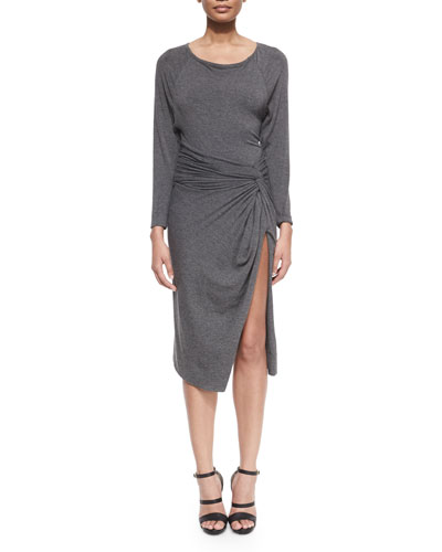 Bateau-Neck Split-Skirt Dress