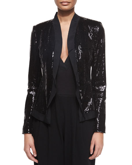 Allover Sequined Belted Jacket