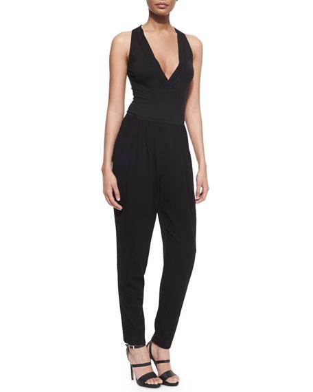 Donna Karan Sleeveless Harem-Pant Combo Jumpsuit