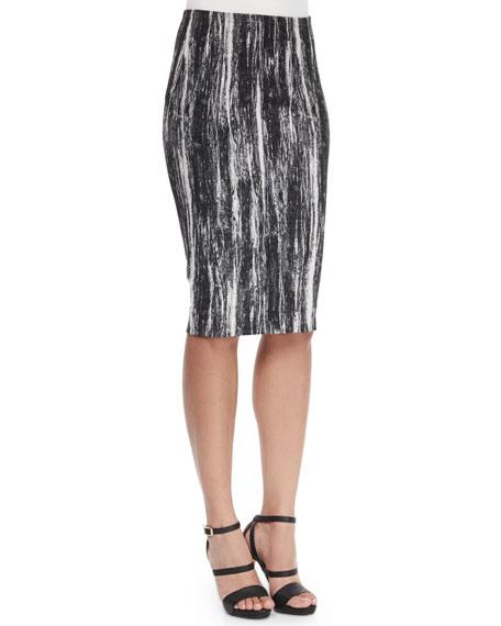 Donna Karan Brushstroke-Print Tube Pencil Skirt