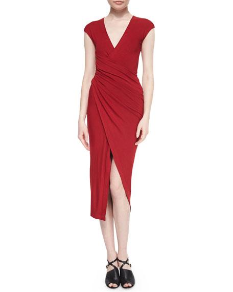 Donna Karan Cool Wool Jersey Draped Surplice Dress