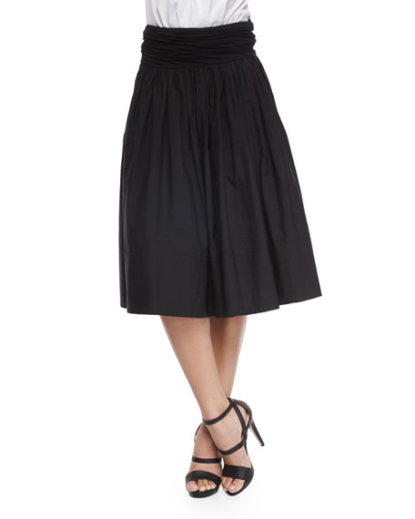 Donna Karan Full Skirt w/Ruched Waistband, Black