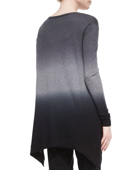 Ombre Cashmere Tunic Sweater, Black Multi