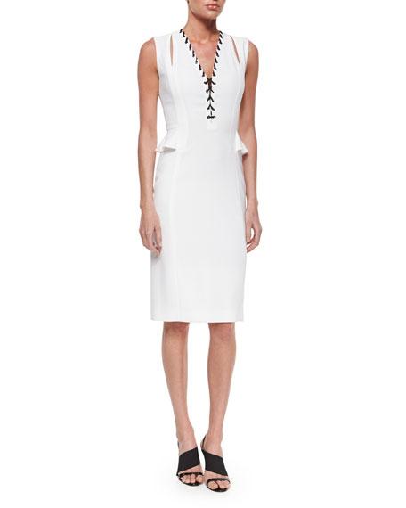 Altuzarra Lace-Up Split-Peplum Sheath Dress
