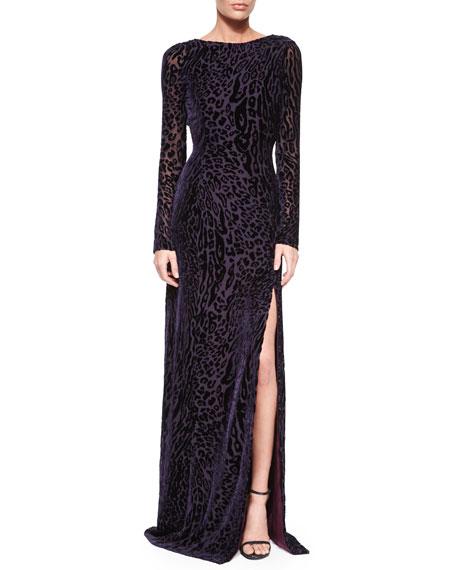 AltuzarraVelvet Leopard-Print V-Back Gown