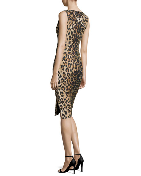 Shadow Leopard-Print Sheath Dress