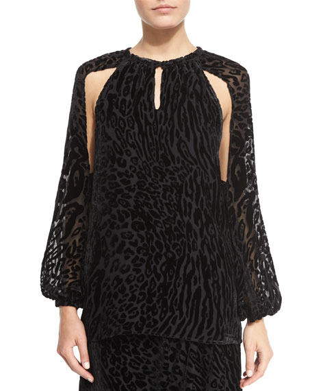 Altuzarra Leopard-Print Split-Sleeve Blouse, Black