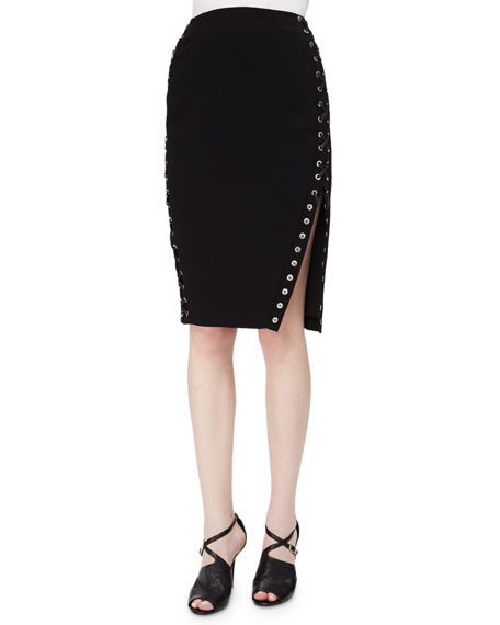 Altuzarra Lace-Up Sided Pencil Skirt with Slit, Black