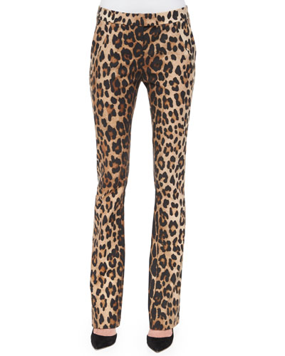 Leopard-Print Skinny Flared Pants