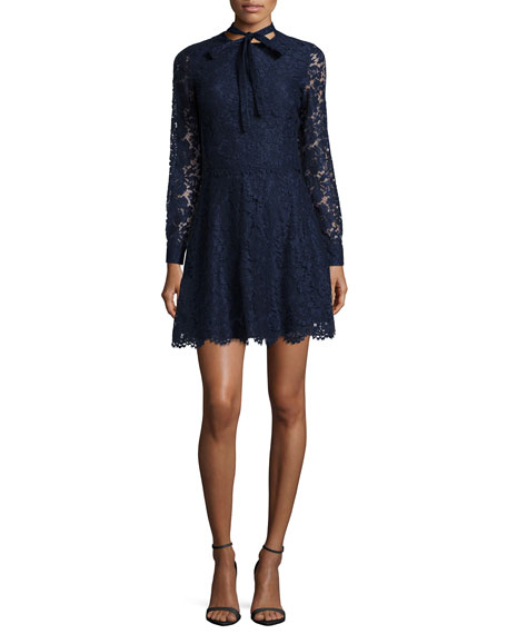 Valentino Floral Lace Tie-Neck Fit-And-Flare Dress
