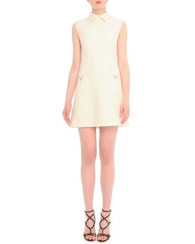 V-Pocket Crepe Shift Dress