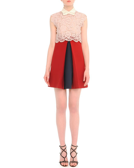 Valentino Scalloped Lace Godet-Pleat Combo Dress