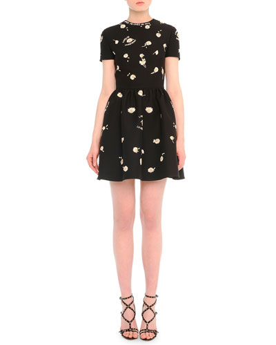 Daisy-Embroidered Fit-And-Flare Dress