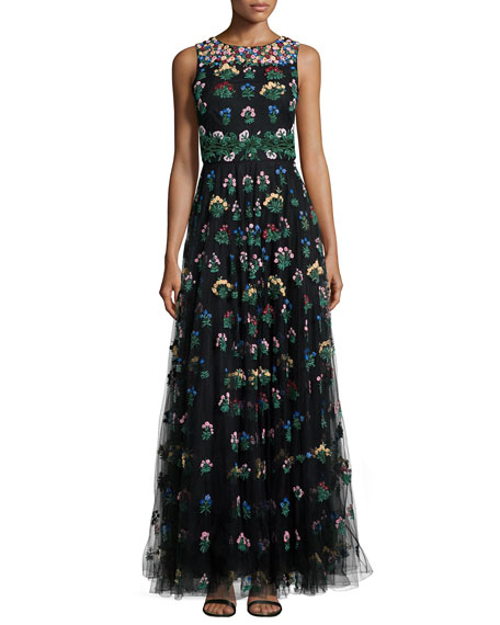 Bouquet-Embroidered Tulle Gown