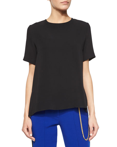 Adam Lippes Short-Sleeve Back-Pleat Shirt, Black