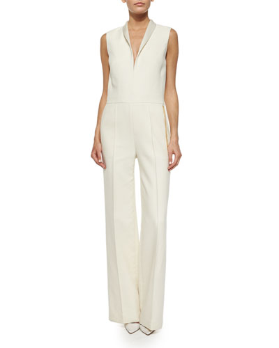Shawl-Collar Chain-Trimmed Jumpsuit