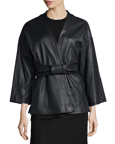 Belted Leather Kimono Jacket
