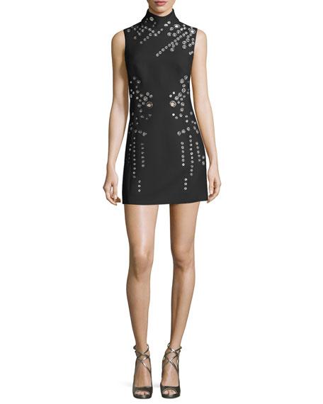 Grommet-Detail Mini Dress, Black