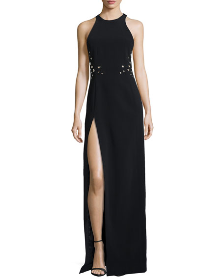 Sleeveless Grommet Gown with Slit