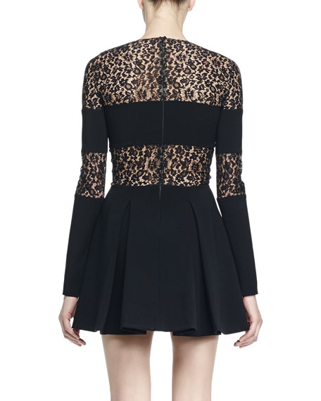 Lace-Inset Half-Zip Long-Sleeve Dress