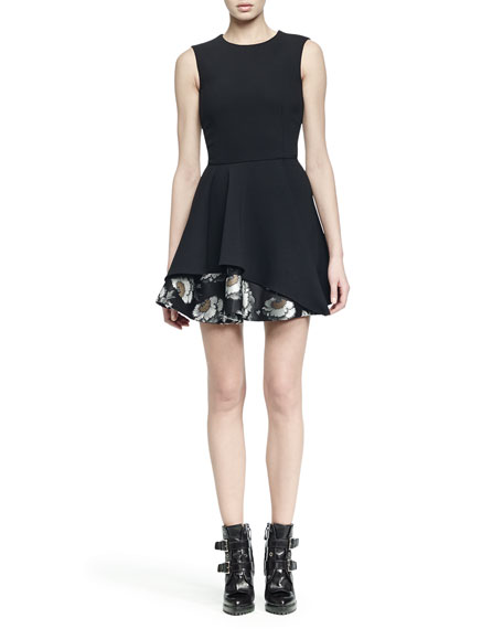 Alexander McQueen Sleeveless Jacquard Flounce-Hem Dress