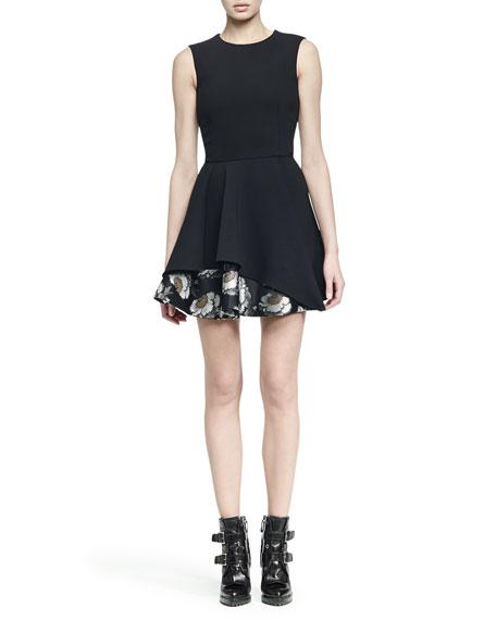 Alexander McQueen Sleeveless Jacquard Flounce-Hem Dress