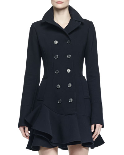 Double-Breasted Flounce Hem Coat