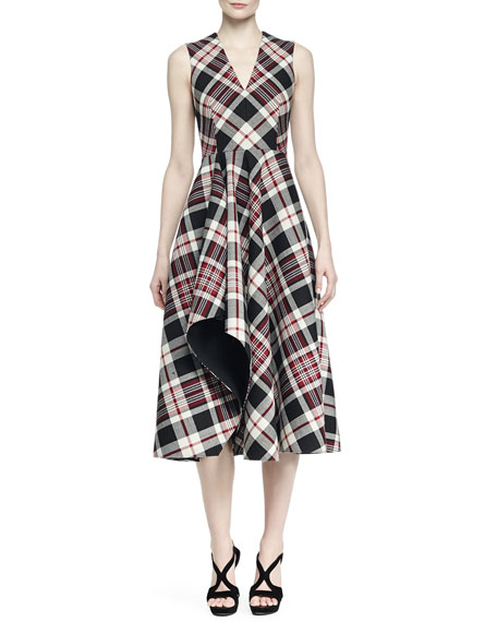 Alexander McQueen Ruffled Plaid Midi Dress
