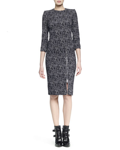 Zip-Hem Printed Sheath Dress
